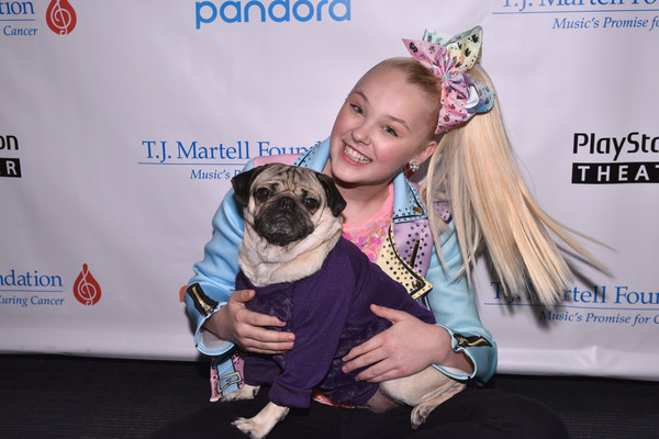 JoJo Siwa Hair Bow [pug,dog,canidae,dog breed,fawn,companion dog,carnivore,kennel club,puppy,photography,jojo siwa,doug the pug,front,t.j.,new york city,playstation theater,martell foundation,new york family day]