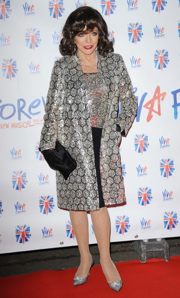 Joan Collins Evening Coat [viva forever,music,clothing,dress,footwear,outerwear,fashion,premiere,carpet,red carpet,flooring,shoe,joan collins,the spice girls,press,victoria embankment gardens,england,london,party]