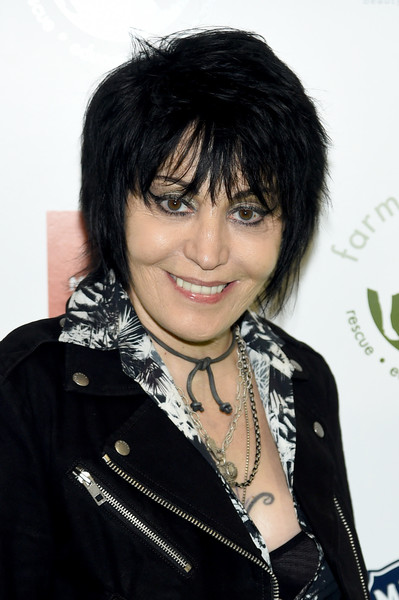 Joan Jett Layered Razor Cut [hair,hairstyle,black hair,bangs,cool,layered hair,pixie cut,feathered hair,long hair,bob cut,arrivals,joan jett,hudson,new york city,pier 60,farm sanctuary,farm sanctuary on the hudson gala,gala]
