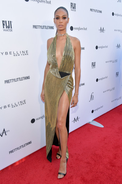 Joan Smalls Slingbacks [red carpet,red carpet,clothing,carpet,shoulder,dress,fashion model,cocktail dress,fashion,hairstyle,leg,joan smalls,daily front row fashion la awards,california,los angeles]