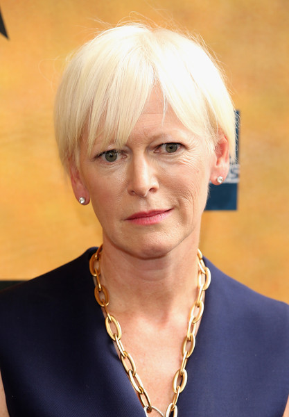 Joanna Coles Short Cut With Bangs [hair,face,blond,hairstyle,chin,eyebrow,head,beauty,forehead,bob cut,opening night - arrivals,hamilton,joanna coles,curtain call,new york city,richard rodgers theatre,broadway,opening night]