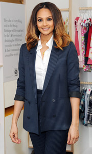 Alesa Dixon was all business in this sharp pinstripe suit.