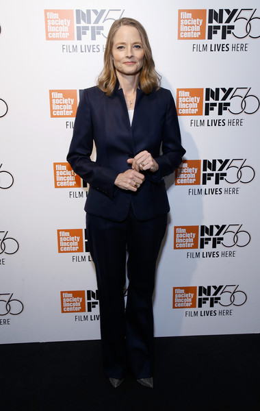 Jodie Foster Pantsuit [clothing,suit,hairstyle,premiere,pantsuit,carpet,formal wear,white-collar worker,event,long hair,jodie foster,falling leaves / be natural,walter reade theatre,new york city,the film society of lincoln center,new york film festival]