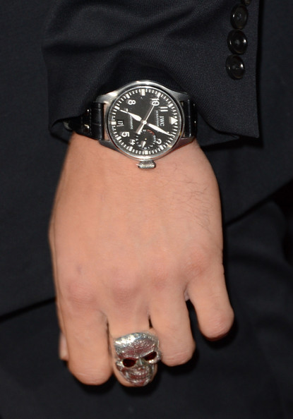 Joe Manganiello Skull Ring [end of watch,analog watch,watch,watch accessory,fashion accessory,jewellery,diamond,silver,wrist,material property,hand,arrivals,joe manganiello,california,los angeles,regal cinemas l.a. live,open road films,premiere,premiere]