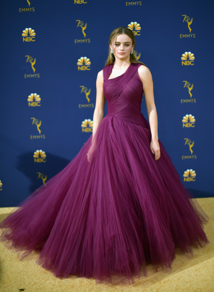 Joey King Princess Gown [dress,gown,purple,flooring,carpet,violet,magenta,shoulder,cocktail dress,formal wear,arrivals,joey king,emmy awards,70th emmy awards,microsoft theater,los angeles,california]