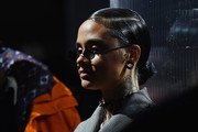Kehlani sported a sleek chignon at the John Elliott fashion show.