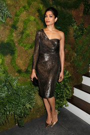 Freida Pinto amped up the shine with a pair of gold Jimmy Choos.
