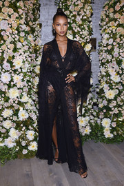 Jasmine Tookes stole the spotlight in a sheer lace robe dress by Alberta Ferretti at the Legends event.
