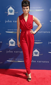 Audra Day kept her red carpet look casual but classy with this retro-inspired red jumpsuit.
