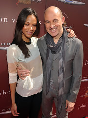 John Varvatos wore this silver and gray skinny scarf for the Stuart House Benefit.
