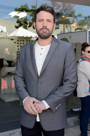 Ben Affleck opted for a gray peak lapel sports coat for his red carpet look at the John Varvatos Stuart House benefit.