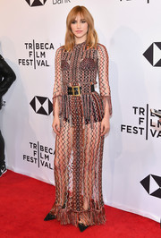 Suki Waterhouse was boho-sexy in a net dress by Dior at the 2018 Tribeca Film Festival screening of 'Jonathan.'