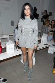 Halsey hit the Jonathan Simkhai fashion show wearing a gray whipstitch hoodie from the brand.