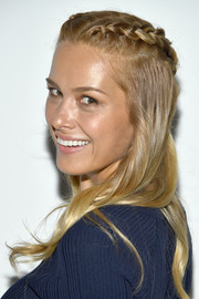 Petra Nemcova looked romantic with her partially braided hairstyle at the Jonathan Simkhai fashion show.