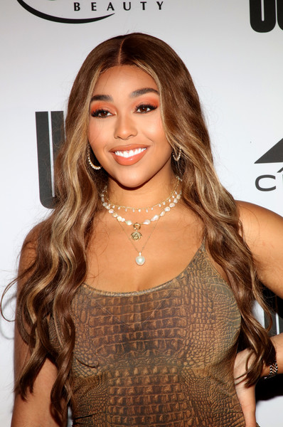 Jordyn Woods Bright Eyeshadow [hair,face,hairstyle,brown hair,long hair,eyebrow,beauty,layered hair,blond,lip,beverly hills,california,uoma beauty summer party,jordyn woods]