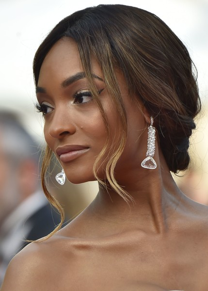 Jourdan Dunn Dangling Crystal Earrings [film,hair,hairstyle,face,eyebrow,chin,beauty,ear,lip,black hair,long hair,jourdan dunn,british,cannes,france,the unknown girl,red carpet arrivals,afp,cannes film festival,screening]