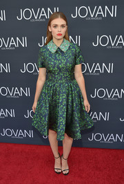 Holland Roden paired her cute dress with the still-on-trend Stuart Weitzman Nudist, in black.