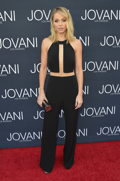 Laura Vandervoort looked sassy in a black illusion-panel jumpsuit from Jovani's Maslavi collection during the label's LA flagship opening.