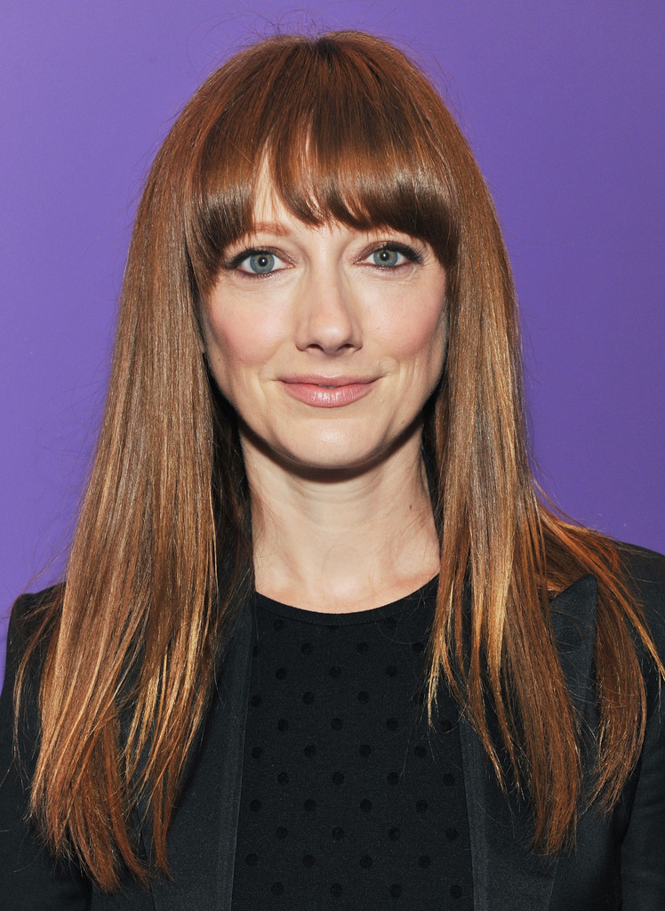 judy greer long straight cut with bangs long straight