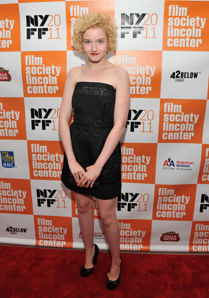Julia Garner Little Black Dress [martha marcy may marlene,clothing,carpet,red carpet,dress,cocktail dress,shoulder,premiere,flooring,little black dress,julia garner,presentation,lincoln center,new york city,alice tully hall,new york film festival]