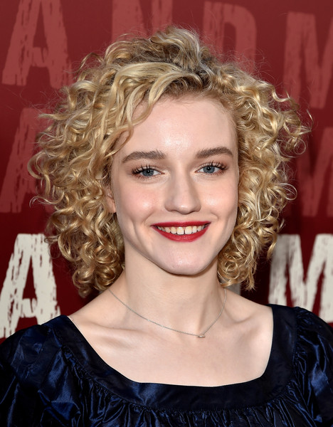 Julia Garner Short Curls [opening night premiere of sony pictures classics,hair,hairstyle,face,blond,eyebrow,chin,lip,beauty,ringlet,layered hair,red carpet,julia garner,grandma,regal cinemas l.a. live,los angeles,california,sony pictures classics,los angeles film festival,premiere,julia garner,grandma,actor,celebrity,2015 los angeles film festival,photography,photograph,television,image]