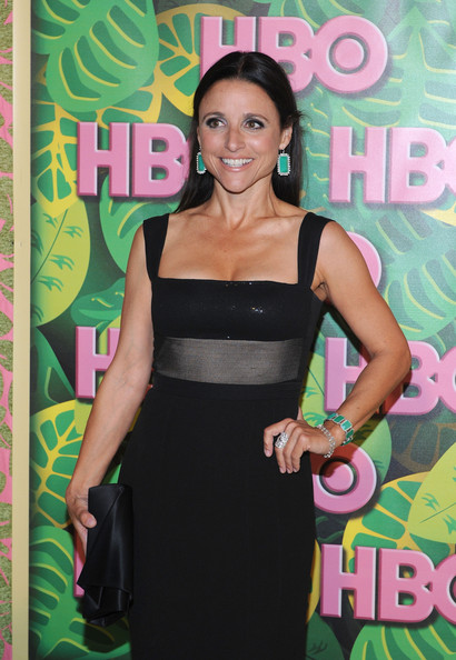 Julia Louis-Dreyfus Satin Clutch [clothing,dress,cocktail dress,premiere,little black dress,style,arrivals,julia louis-dreyfus,the plaza,los angeles,california,pacific design center,hbo,annual emmy awards post,reception,annual emmy awards post award reception]