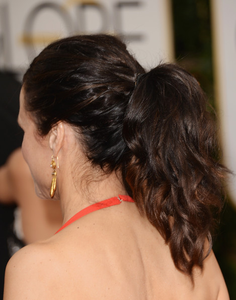 Julia Louis-Dreyfus Ponytail [hair,hairstyle,shoulder,back,long hair,chin,neck,brown hair,black hair,chignon,arrivals,julia louis-dreyfus,hair detail,beverly hills,california,the beverly hilton hotel,golden globe awards,annual golden globe awards]