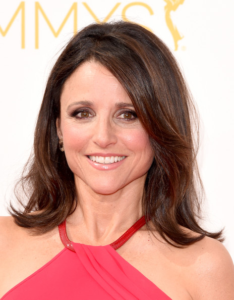 Julia Louis-Dreyfus Flip [hair,human hair color,hairstyle,beauty,chin,layered hair,shoulder,long hair,brown hair,blond,arrivals,julia louis-dreyfus,part,california,los angeles,nokia theatre l.a. live,primetime emmy awards]
