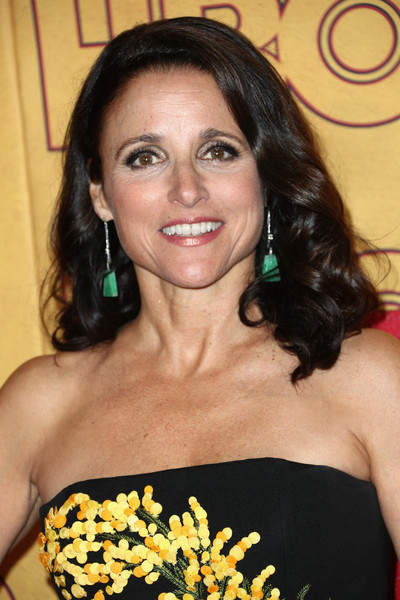 Julia Louis-Dreyfus Medium Curls [hair,hairstyle,shoulder,long hair,brown hair,black hair,ringlet,smile,arrivals,julia louis-dreyfus,post emmy awards,the plaza,los angeles,california,pacific design center,hbo,reception,post emmy awards reception]