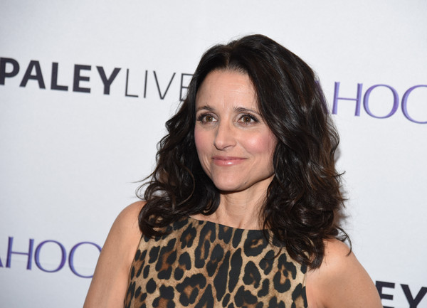 Julia Louis-Dreyfus Medium Curls [paley center for media hosts an evening with the cast,veep,hair,face,hairstyle,eyebrow,long hair,beauty,brown hair,chin,black hair,hair coloring,cast,julia louis-dreyfus,new york city,the paley center for media]
