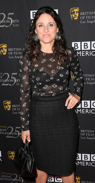 Julia Louis-Dreyfus Leather Tote [tv tea 2012,clothing,dress,premiere,fashion,little black dress,neck,cocktail dress,pencil skirt,black hair,long hair,julia louis-dreyfus,arrivals,bafta la,la,west hollywood,california,bbc america,bafta,the london hotel hollywood]
