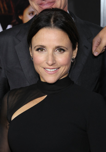 Julia Louis-Dreyfus Classic Bun [enough said,red carpet,hair,eyebrow,hairstyle,beauty,chin,cheek,forehead,smile,black hair,lip,julia louis-dreyfus,new york,paris theater,new york screening]