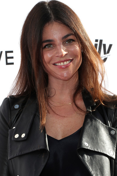 Julia Restoin-Roitfeld Long Center Part [hair,hairstyle,leather,brown hair,jacket,beauty,layered hair,long hair,leather jacket,black hair,arrivals,julia restoin roitfeld,west hollywood,california,sunset tower hotel,daily front row,3rd annual fashion los angeles awards]