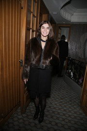 Carine Roitfeld was edgy-glam in a brown fur coat with leather trim while attending a Paris Fashion Week dinner.