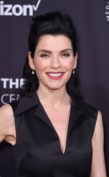 Julianna Margulies Half Up Half Down [paley honors: celebrating women in television,hair,hairstyle,eyebrow,skin,beauty,lip,chin,smile,forehead,little black dress,julianna margulies,new york city,cipriani wall street,the paley honors: celebrating women in television,event]