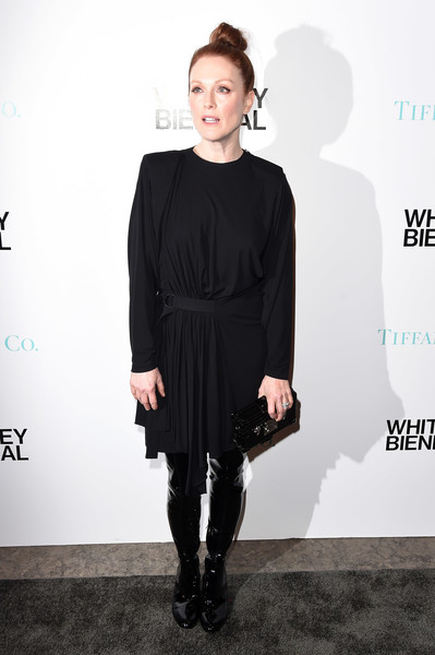 Julianne Moore Over the Knee Boots [julianne moore,whitney biennial,clothing,dress,shoulder,fashion,little black dress,fashion model,footwear,cocktail dress,joint,neck,new york city,the whitney museum of american art,tiffany co]