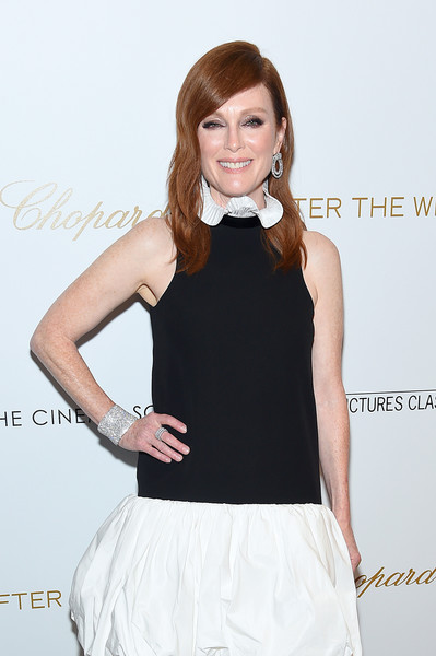 Julianne Moore Cuff Bracelet [clothing,white,black,dress,beauty,cocktail dress,little black dress,fashion,hairstyle,neck,after the wedding,new york,regal essex,screening - arrivals,screeningat,julianne moore]