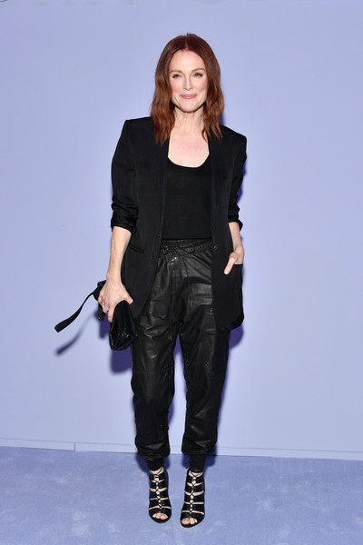 Julianne Moore Leather Clutch [fashion model,runway,fashion,fashion show,catwalk,denim,jeans,shoe,fashion design,blazer,tom ford womens - arrivals,julianne moore,park avenue armory,new york city,tom ford womens fall,new york fashion week,fashion show]