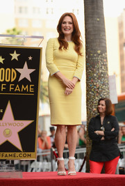 Julianne Moore chose a simple yet elegant yellow sheath by Dolce & Gabbana for her Hollywood Walk of Fame ceremony.