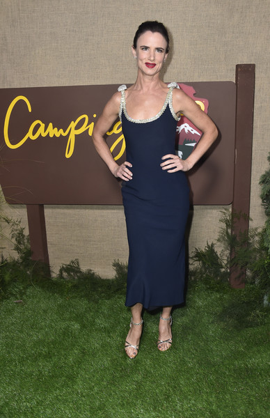 Juliette Lewis Strappy Sandals [clothing,dress,shoulder,lady,yellow,fashion,cocktail dress,footwear,little black dress,formal wear,series,arrivals,juliette lewis,camping,california,hollywood,los angeles premiere of hbo,paramount studios]