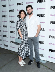 Cobie Smulders was relaxed and cute in a black-and-white gingham shirtdress at the opening of 'Julius Caesar.'