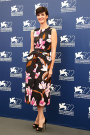 Paz Vega went for girly charm in a Ferragamo floral dress during the Venice Film Festival jury photocall.