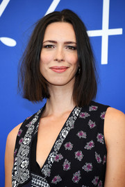 Rebecca Hall attended the Venice Film Festival jury photocall wearing her hair in a slightly messy bob.