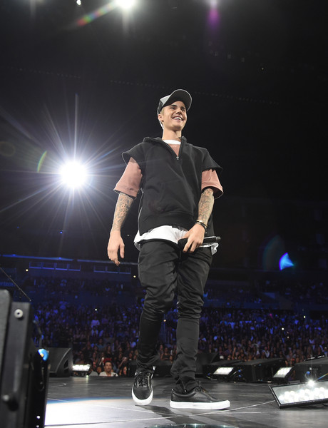 Justin Bieber Leather Sneakers [evening with justin bieber,performance,entertainment,music artist,performing arts,fashion,public event,event,concert,pop music,music,performances,an evening with,california,los angeles,staples center]