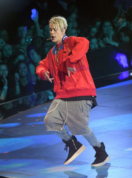 Justin Bieber Long Shorts [performance,entertainment,fashion,performing arts,public event,event,fashion show,stage,fashion design,footwear,justin bieber,inglewood,california,the forum,iheartradio music awards - show,iheartradio music awards]