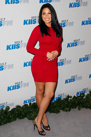 Jordin Sparks looked red hot in this long-sleeve body-con dress at Jingle Ball.