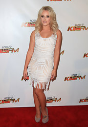Lacey Schwimmer looked divine in a white crochet dress paired with taupe suede platform pumps.
