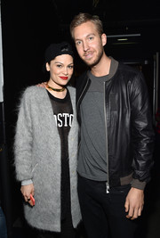 Jessie J kept warm with a fuzzy gray wool coat backstage at Kiss 108's Jingle Ball.