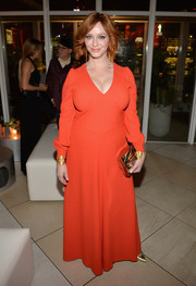 Christina Hendricks chose a long-sleeve red gown by Bella Freud for the premiere of 'American Woman.'