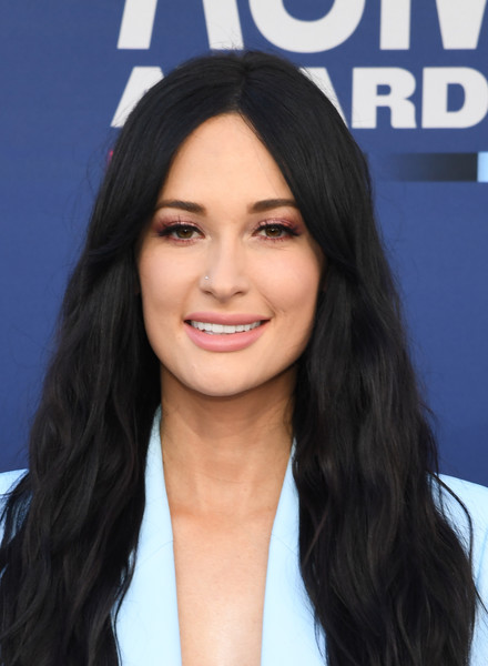 Kacey Musgraves Long Wavy Cut [hair,face,hairstyle,eyebrow,black hair,long hair,forehead,beauty,chin,lip,arrivals,kacey musgraves,mgm grand hotel casino,nevada,las vegas,academy of country music awards]